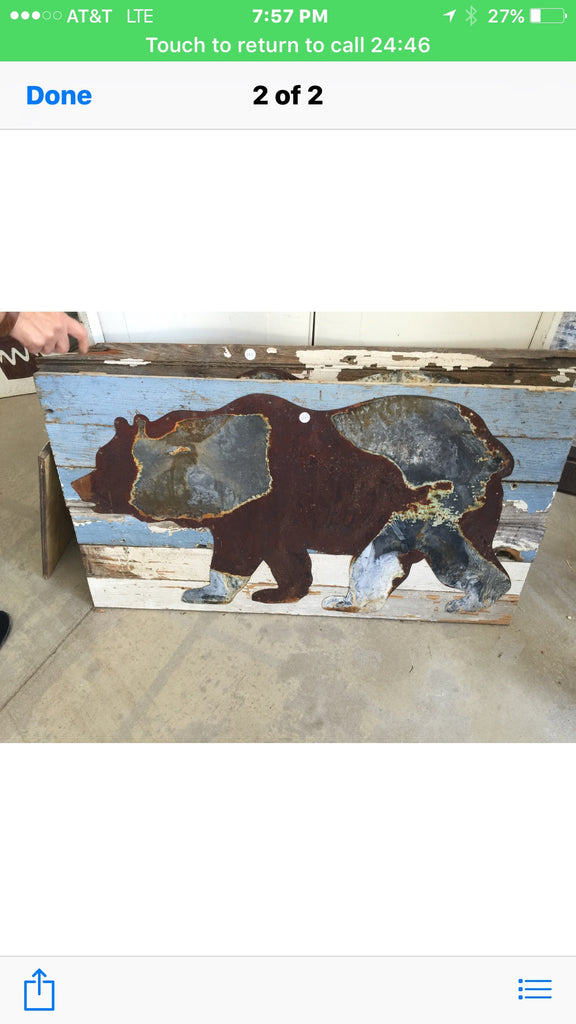 Oxidized Tin Bear on Old Chippy Wood