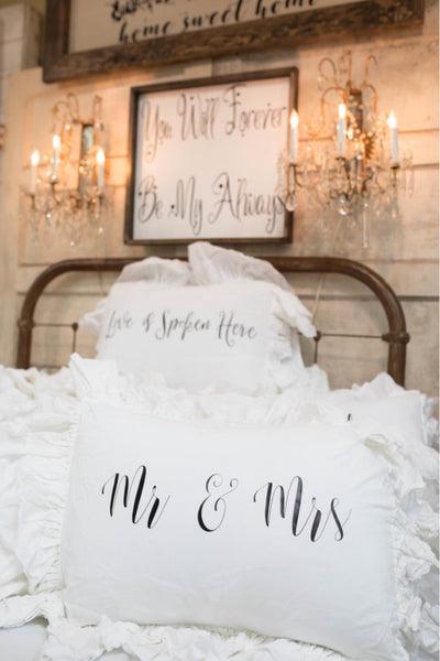 Mr & Mrs Bleached Muslin Double Ruffle Pillow