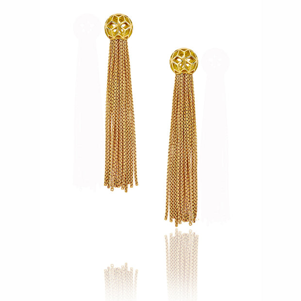 Hex Ball Tassel Earrings - ReRe Corcoran Jewelry