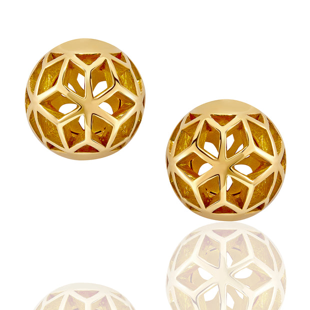 Hex Ball Stud Earrings - ReRe Corcoran Jewelry