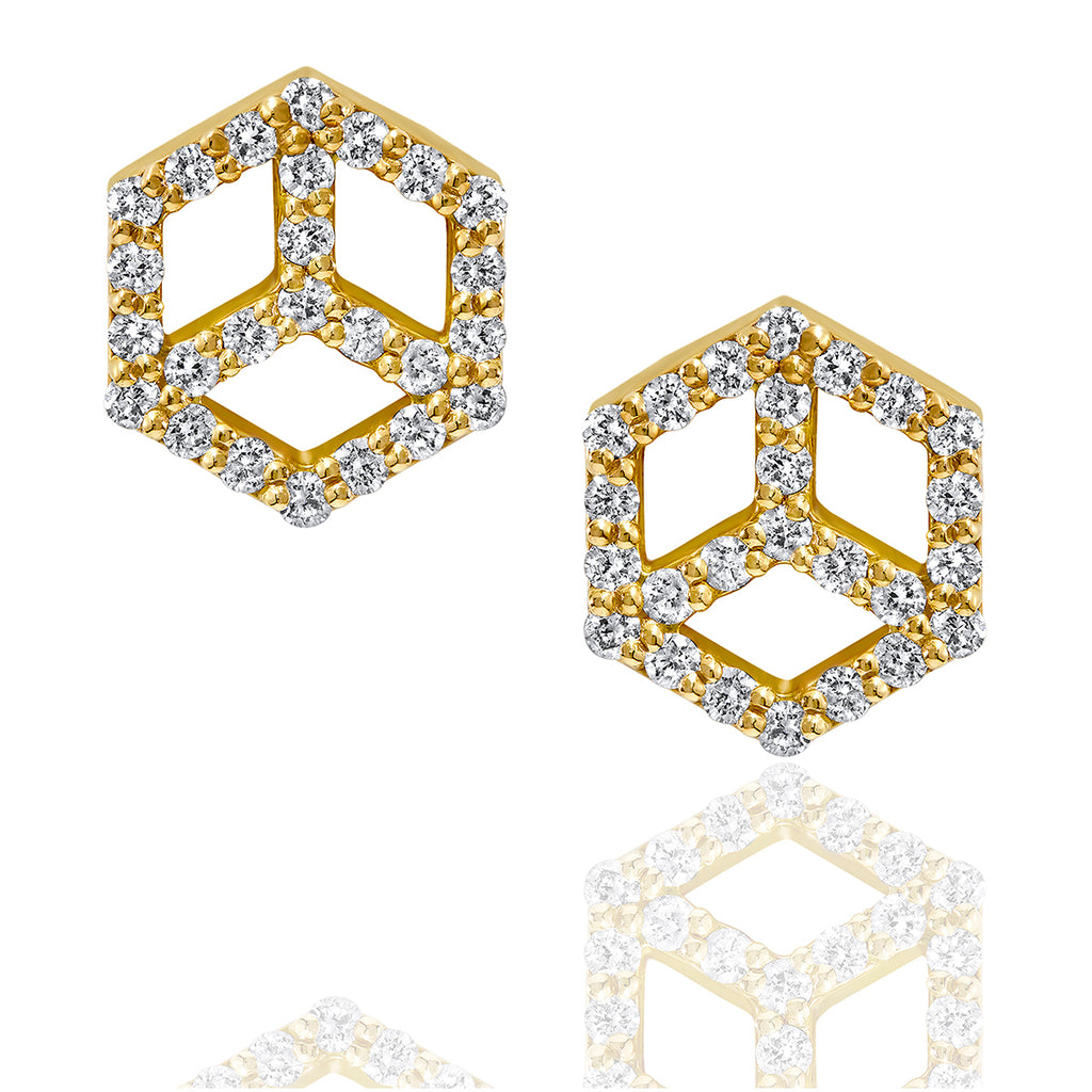 Hex Charm Stud Earring w/Pave' - ReRe Corcoran Jewelry