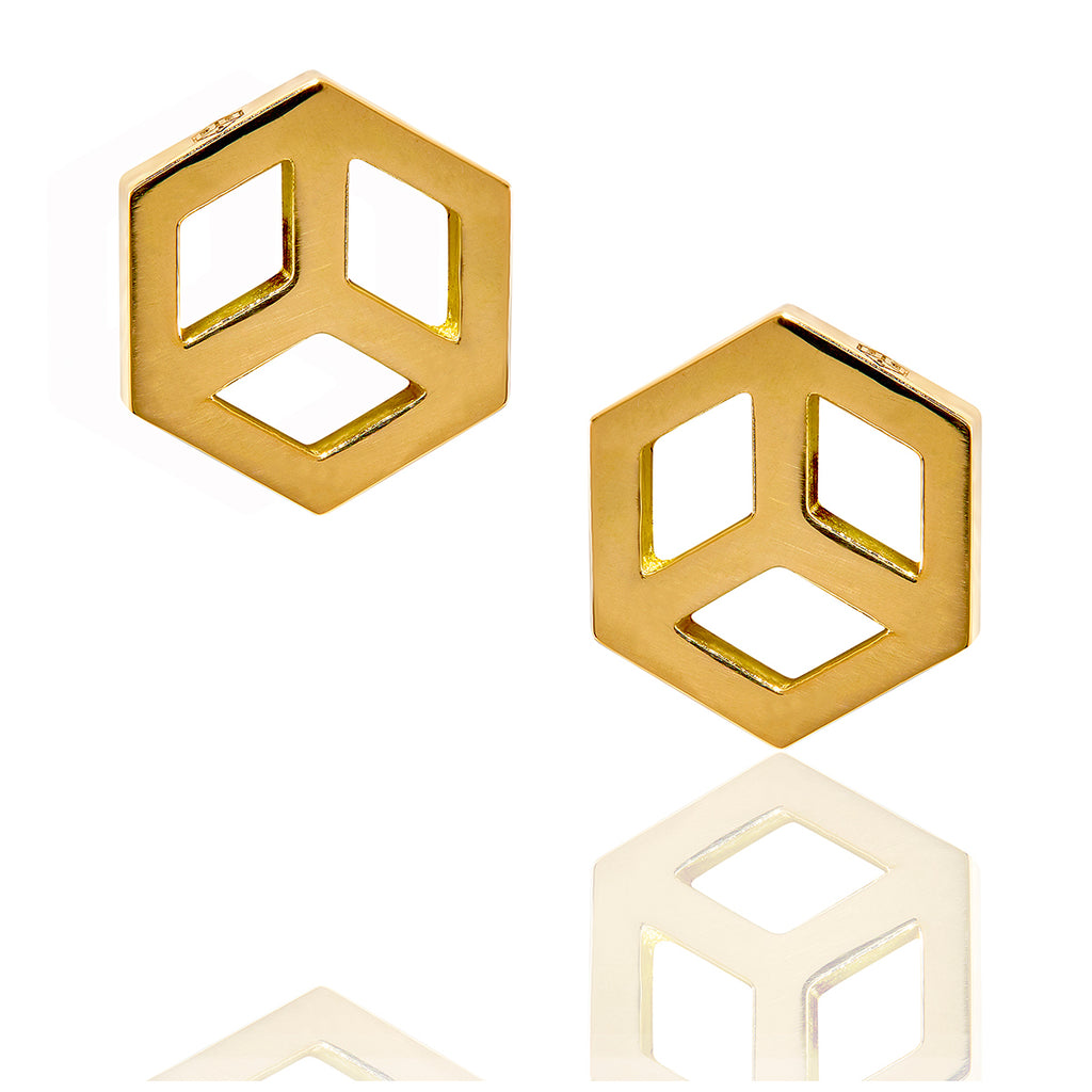 Hex Charm Stud Earring - ReRe Corcoran Jewelry