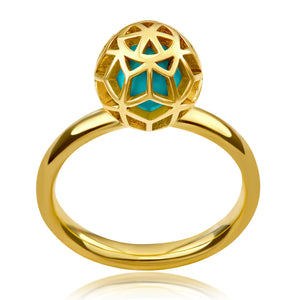 Hex Turquoise Ball Ring - ReRe Corcoran Jewelry