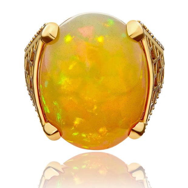 Hex Cocktail Ring w/ Ethiopian Opal and Pavé Diamonds - ReRe Corcoran Jewelry