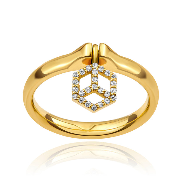 Hex Charm Ring with Pavé Charm - ReRe Corcoran Jewelry