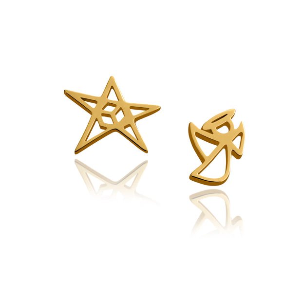 """Haley"" Angel and Star Stud Earrings - ReRe Corcoran Jewelry"