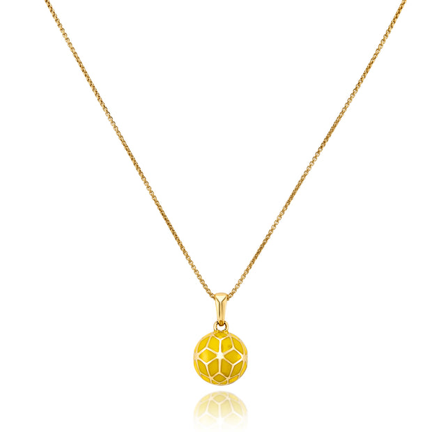Hex Enamel Small Ball Pendant - Yellow - ReRe Corcoran Jewelry