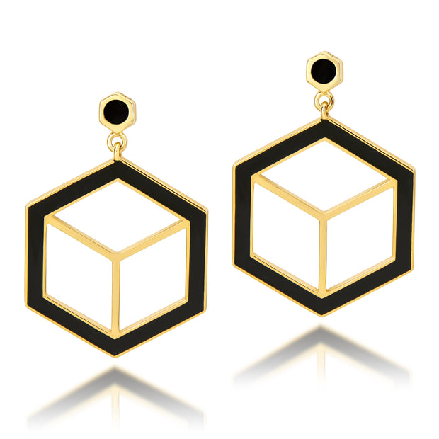 Hex Enamel Earrings - Black - ReRe Corcoran Jewelry