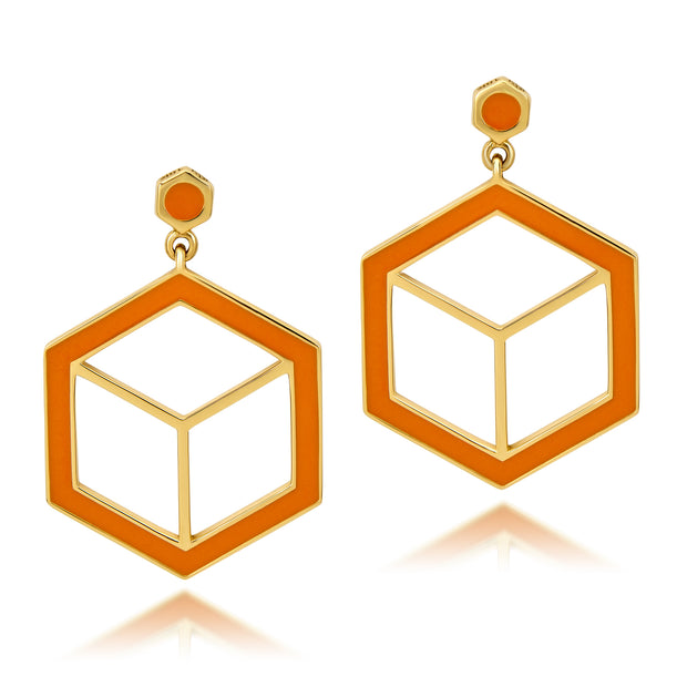 Hex Enamel Earrings - Orange - ReRe Corcoran Jewelry