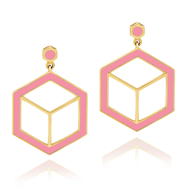 Hex Enamel Earrings - Pink - ReRe Corcoran Jewelry