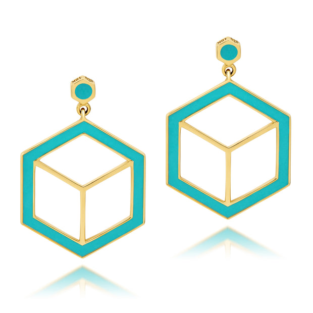 Hex Enamel Earrings - Turquoise - ReRe Corcoran Jewelry