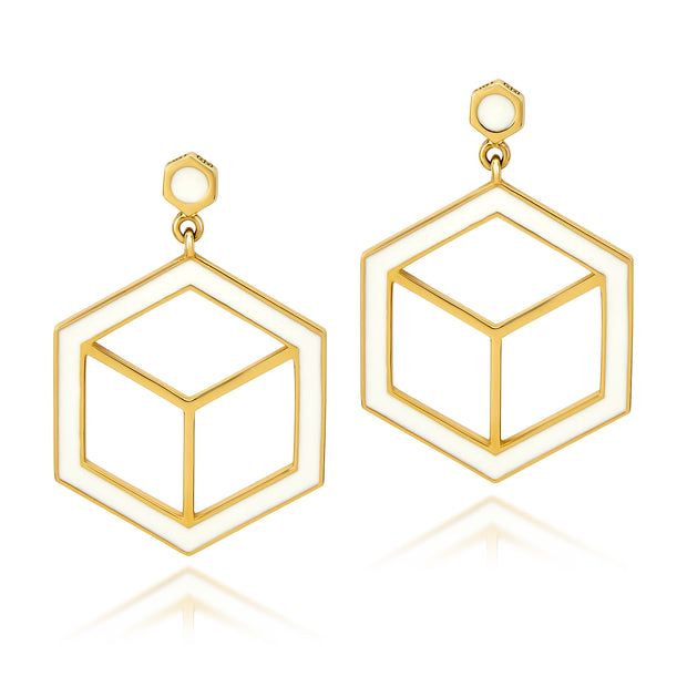 Hex Enamel Earrings - White - ReRe Corcoran Jewelry