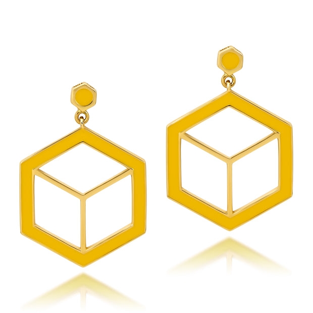 Hex Enamel Earrings - Yellow - ReRe Corcoran Jewelry
