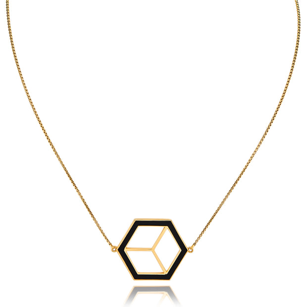 Large Reversible Hex Necklace - Black/White - ReRe Corcoran Jewelry