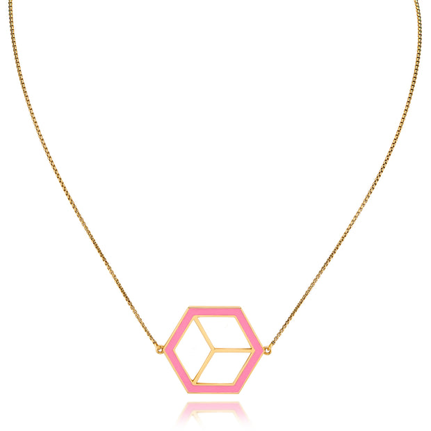 Large Reversible Hex Necklace - Pink/Turquoise - ReRe Corcoran Jewelry