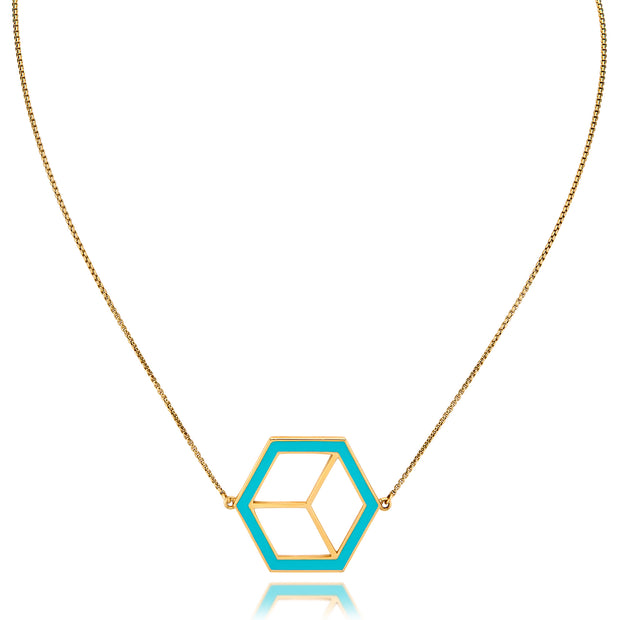 Large Reversible Hex Necklace - Turquoise/Orange - ReRe Corcoran Jewelry