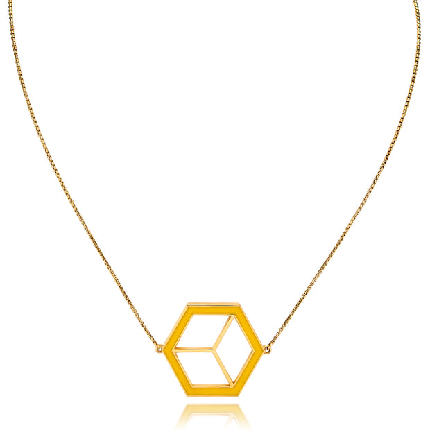 Large Reversible Hex Necklace - Turquoise/Yellow - ReRe Corcoran Jewelry