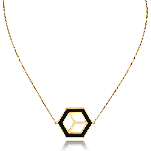 Small Reversible Hex Necklace - Black/White - ReRe Corcoran Jewelry