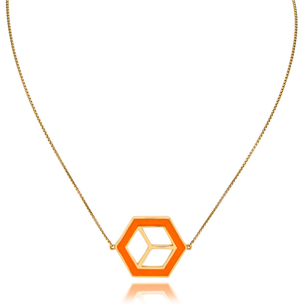 Small Reversible Hex Necklace - Turquoise/Orange - ReRe Corcoran Jewelry