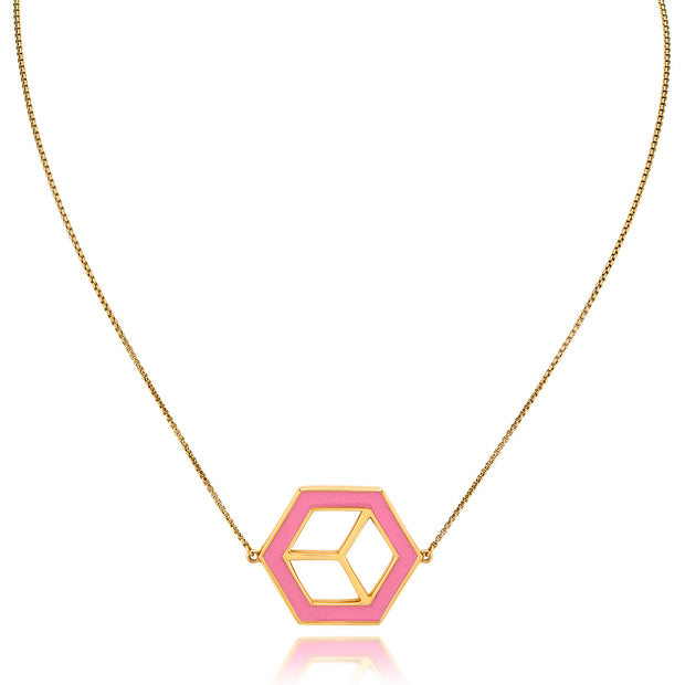 Small Reversible Hex Necklace - Yellow/Pink - ReRe Corcoran Jewelry