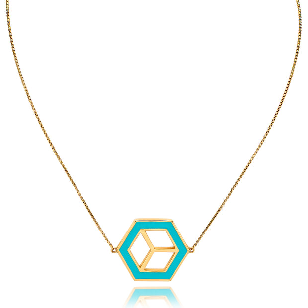 Small Reversible Hex Necklace - Turquoise/Yellow - ReRe Corcoran Jewelry