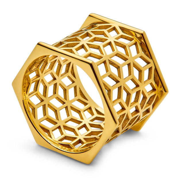 Hex Wide Band Ring - ReRe Corcoran Jewelry