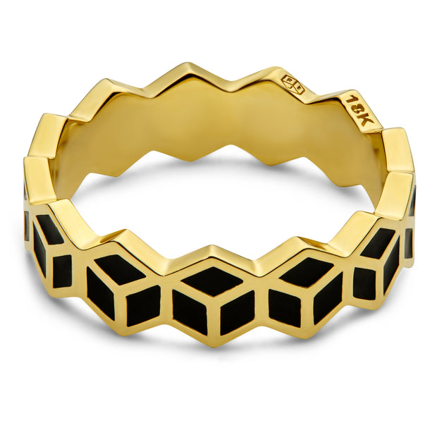 Hex Stack Ring - Black - ReRe Corcoran Jewelry