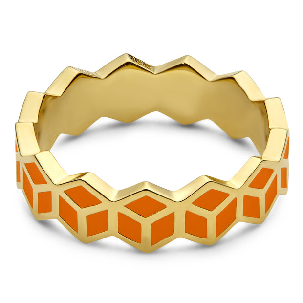 Hex Stack Ring - Orange - ReRe Corcoran Jewelry