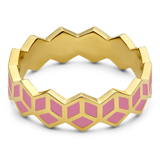 Hex Stack Ring - Pink - ReRe Corcoran Jewelry