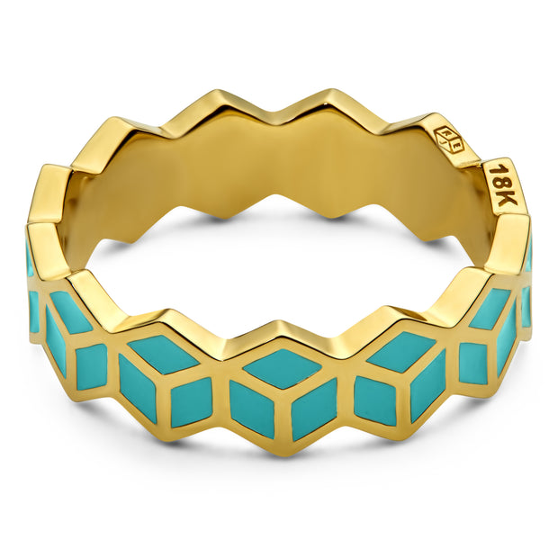 Hex Stack Ring - Turquoise - ReRe Corcoran Jewelry