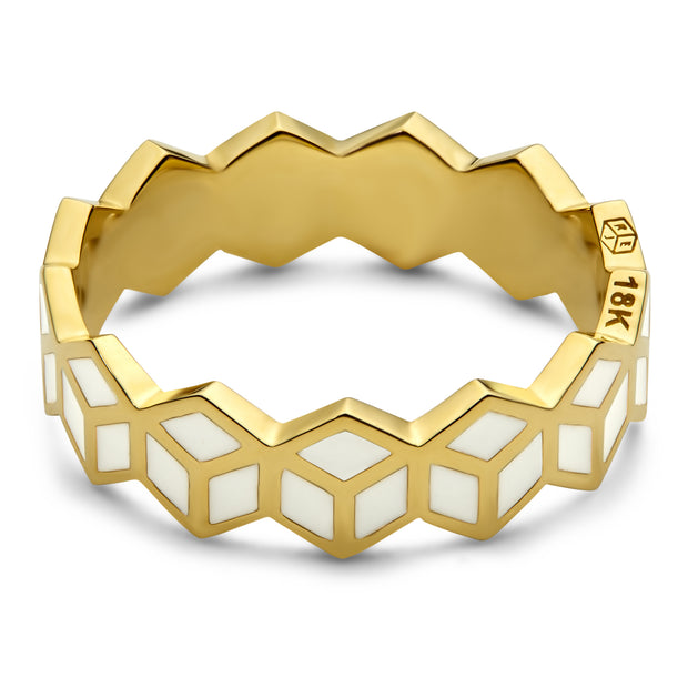 Hex Stack Ring - White - ReRe Corcoran Jewelry
