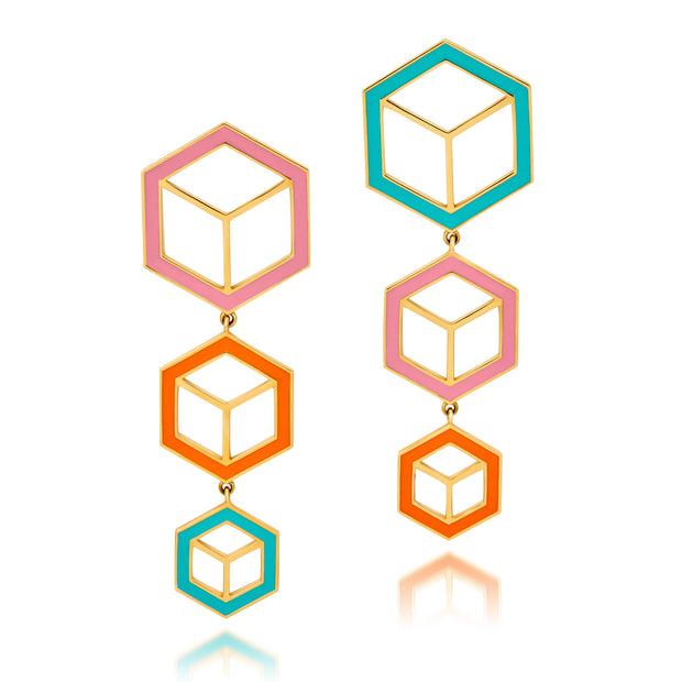 Hex Enamel Triple Drop Earrings - Pink, Orange, Turquoise - ReRe Corcoran Jewelry