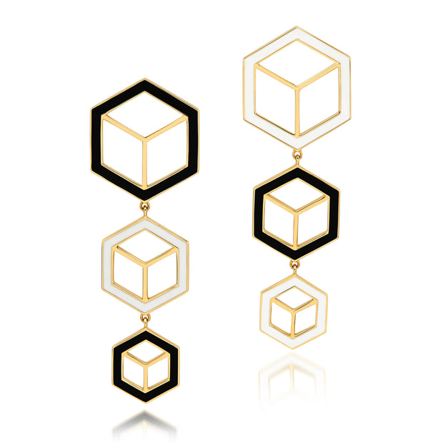 Hex Enamel Triple Drop Earrings - Black/White - ReRe Corcoran Jewelry