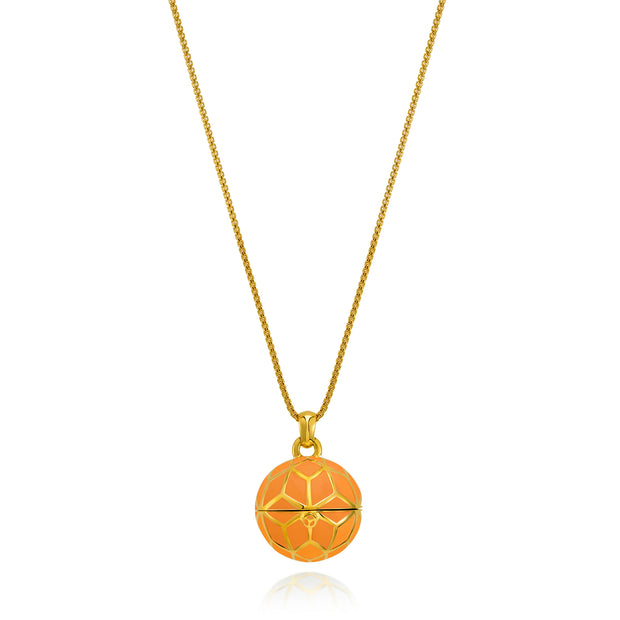 """The Balm Jul-Re"" - Orange Hex Ball Lip Balm Pendant - ReRe Corcoran Jewelry"