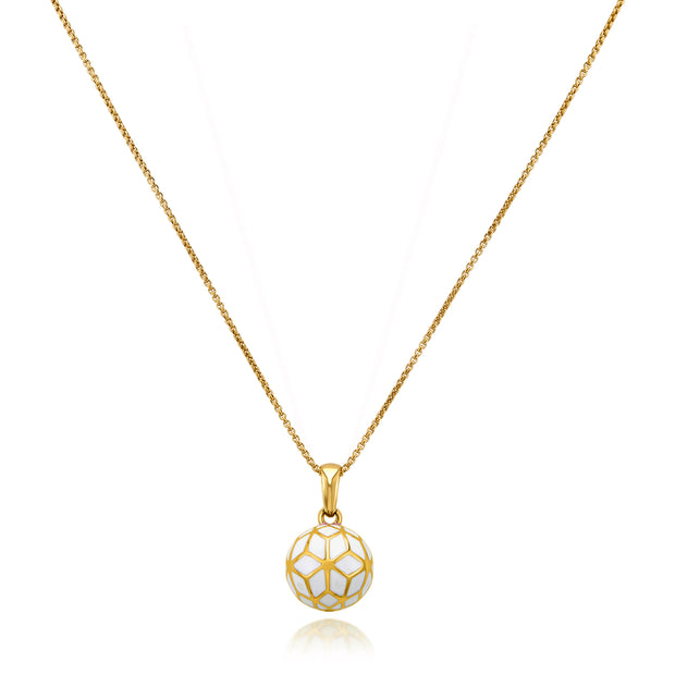 Hex Enamel Small Ball Pendant - White - ReRe Corcoran Jewelry