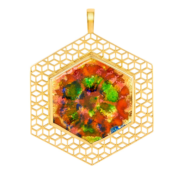 18k Yellow Gold Tie-Dye Pendant