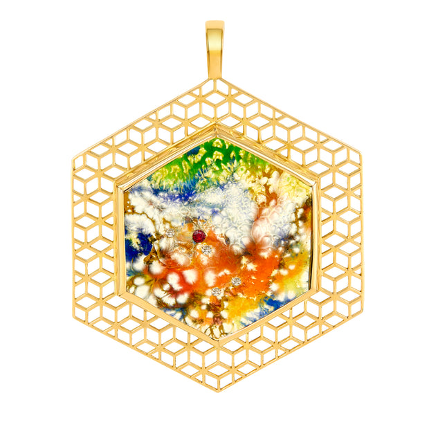 18k Yellow Gold and Diamond Tie-Dye Pendant - ReRe Corcoran Jewelry