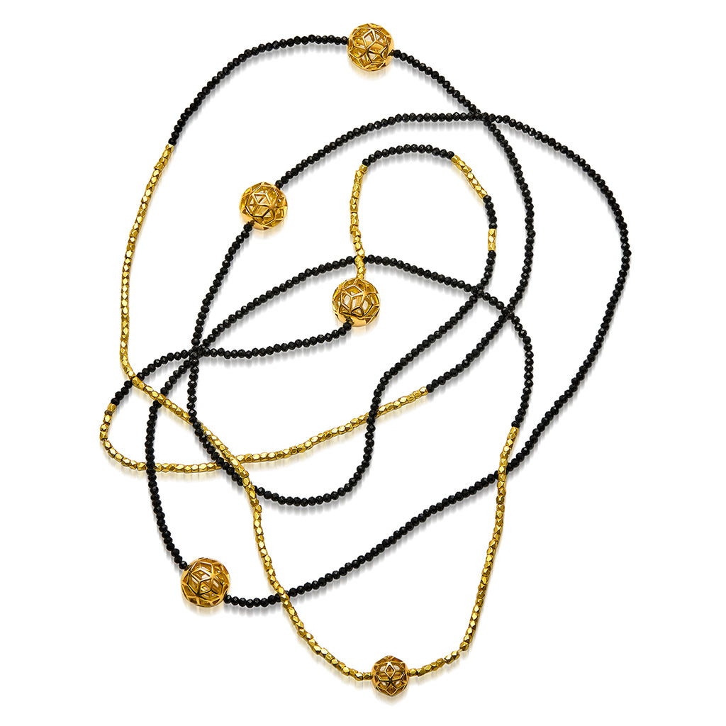 The Code Long Single Strand Necklace w/4 small & 1 mini Hex balls - ReRe Corcoran Jewelry