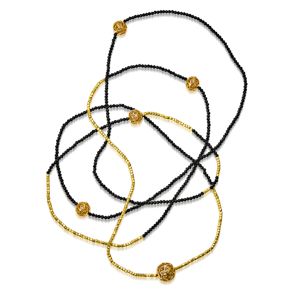 The Code Long Single Strand Necklace w/4 mini & 1 small Hex balls - ReRe Corcoran Jewelry