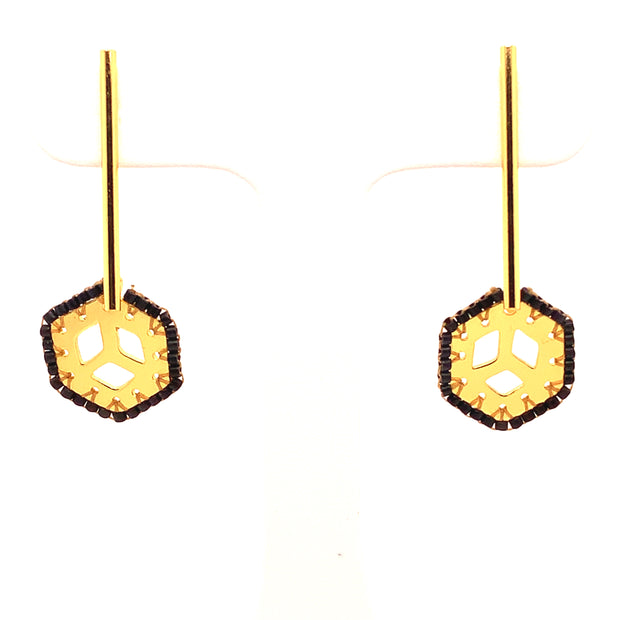 ReRe Gold and Black Beaded Long Earrings