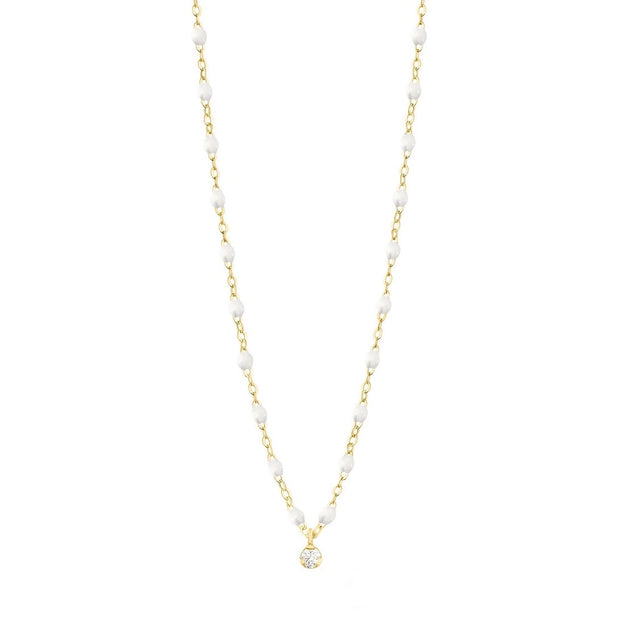 Gigi Supreme Classic 1 Diamond Necklace, White, Yellow Gold, 16.5""