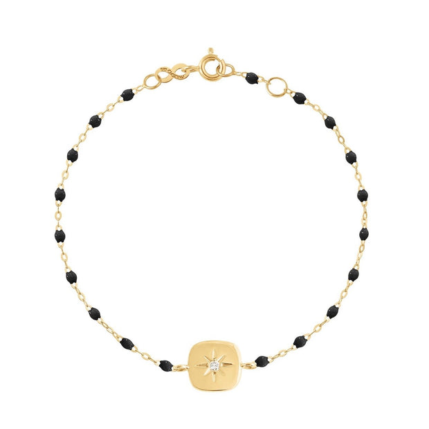 Miss Gigi Black diamond bracelet, Yellow Gold, 6.7""