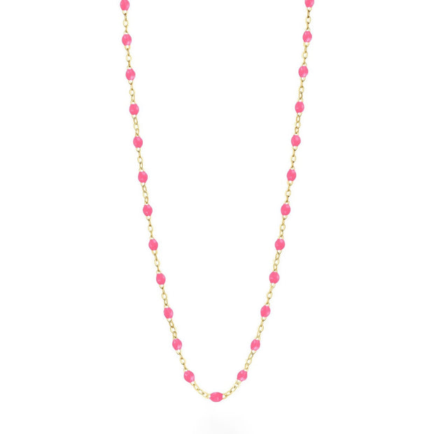 Classic GiGi Pink necklace, yellow gold, 16.5""