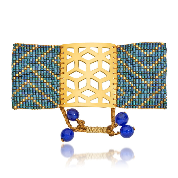 ReRe Wide Denim Blue, Gold Beaded bracelet