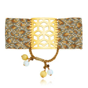 ReRe Wide Gold, Grey, Tan Beaded bracelet