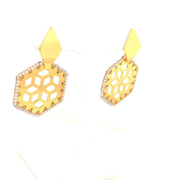 ReRe Gold and White Beaded Statement Earrings
