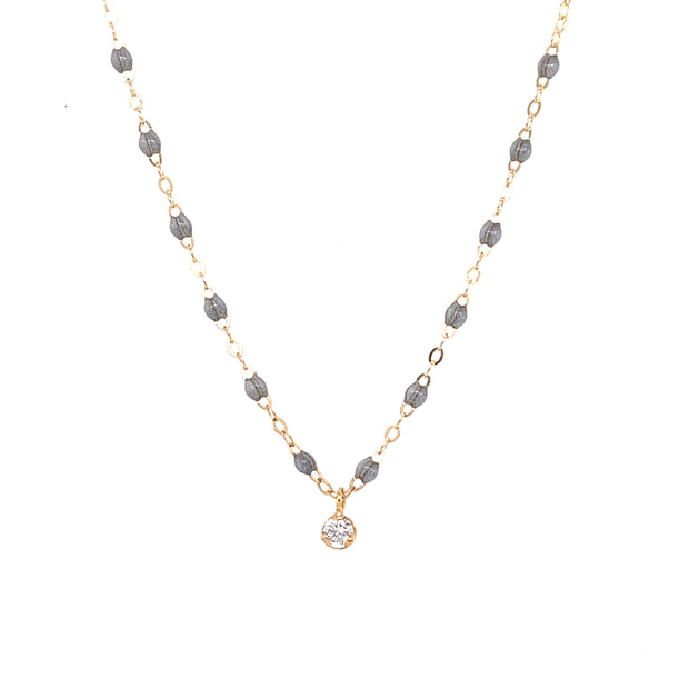 Gigi Supreme Classic 1 Diamond Necklace, Silver, Yellow Gold, 16.5""