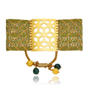 ReRe Wide Khaki, Green, Gold Beaded bracelet