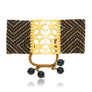 ReRe Wide Black, Gold Beaded bracelet