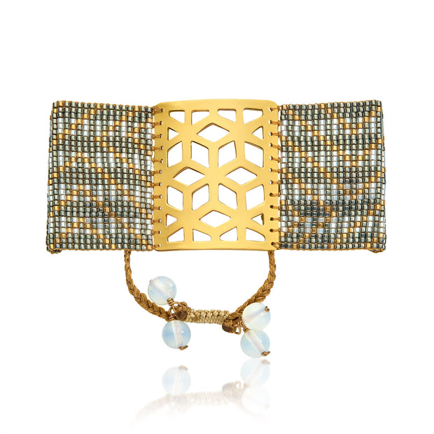 ReRe Wide Grey, Silver, Gold Beaded bracelet
